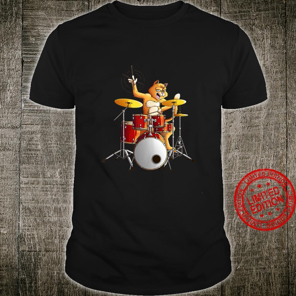 Cool Cat Playing Drums Kitten Instrument Player Shirt
