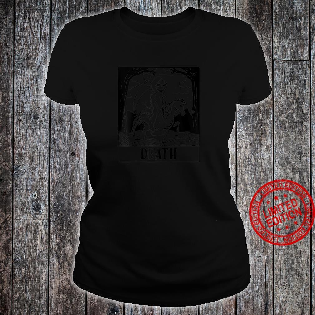 Grim Reaper Horse Skeleton Tarot Card Blackcraft Shirt ladies tee