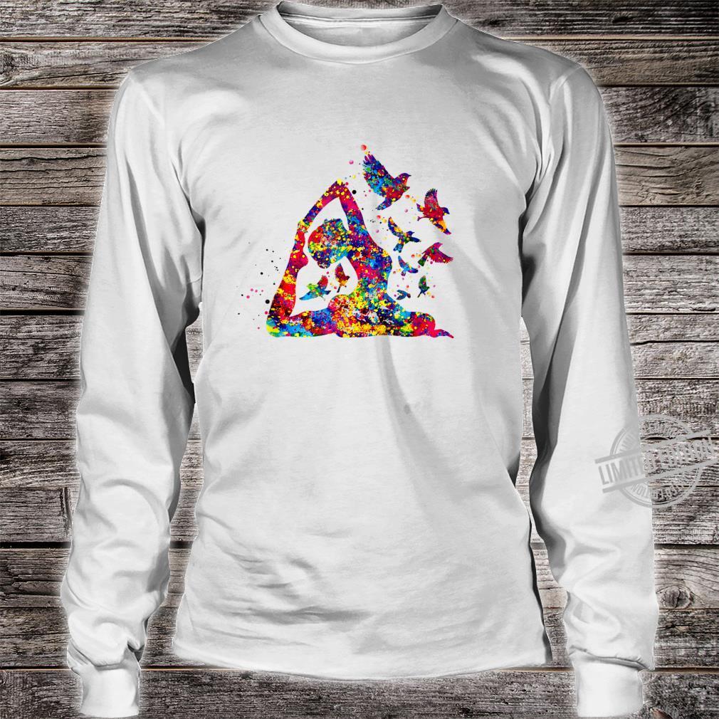 Hummingbird and yoga skill art colorful Shirt long sleeved