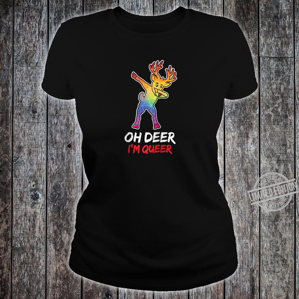 LGBT Dabbing Oh Deer I'm Queer For Proud & Lesbians Shirt ladies tee