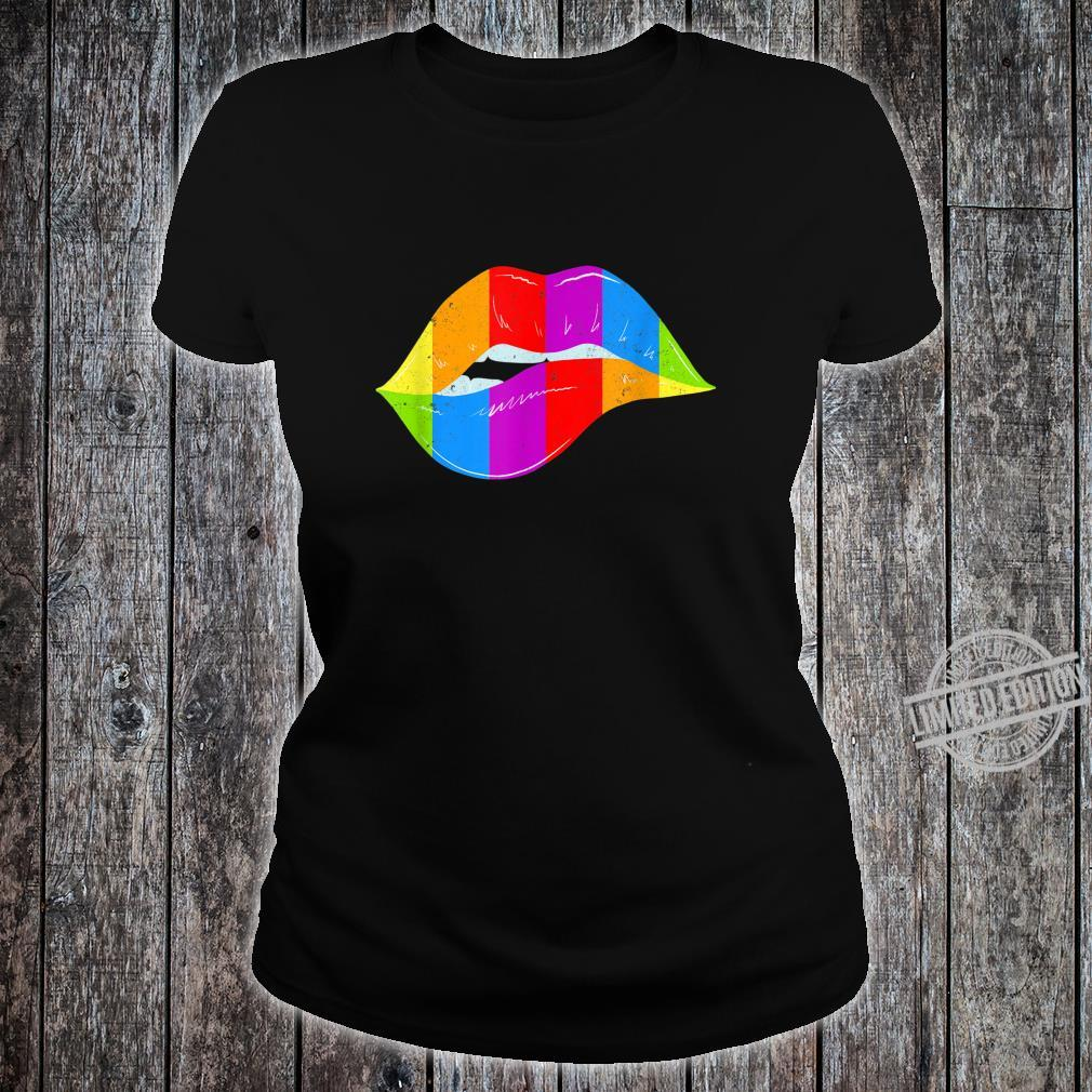 LGBT Rainbow Shirt Lips Pride Gay, Homosexual, Lesbian Shirt ladies tee