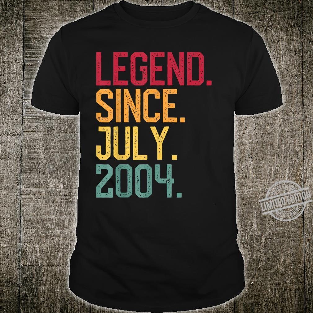 Legend Since July 2004 16th Birthday 16 Years Oldn Shirt
