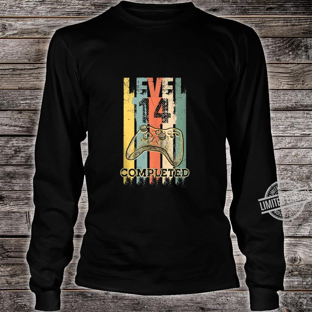 Level 14 Completed Video Gamer 14 Years Old Birthday Shirt long sleeved