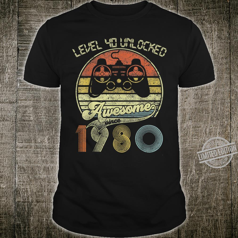 Level 40 Unlocked Awesome Since 1980 Gamers 40th Birthday Shirt