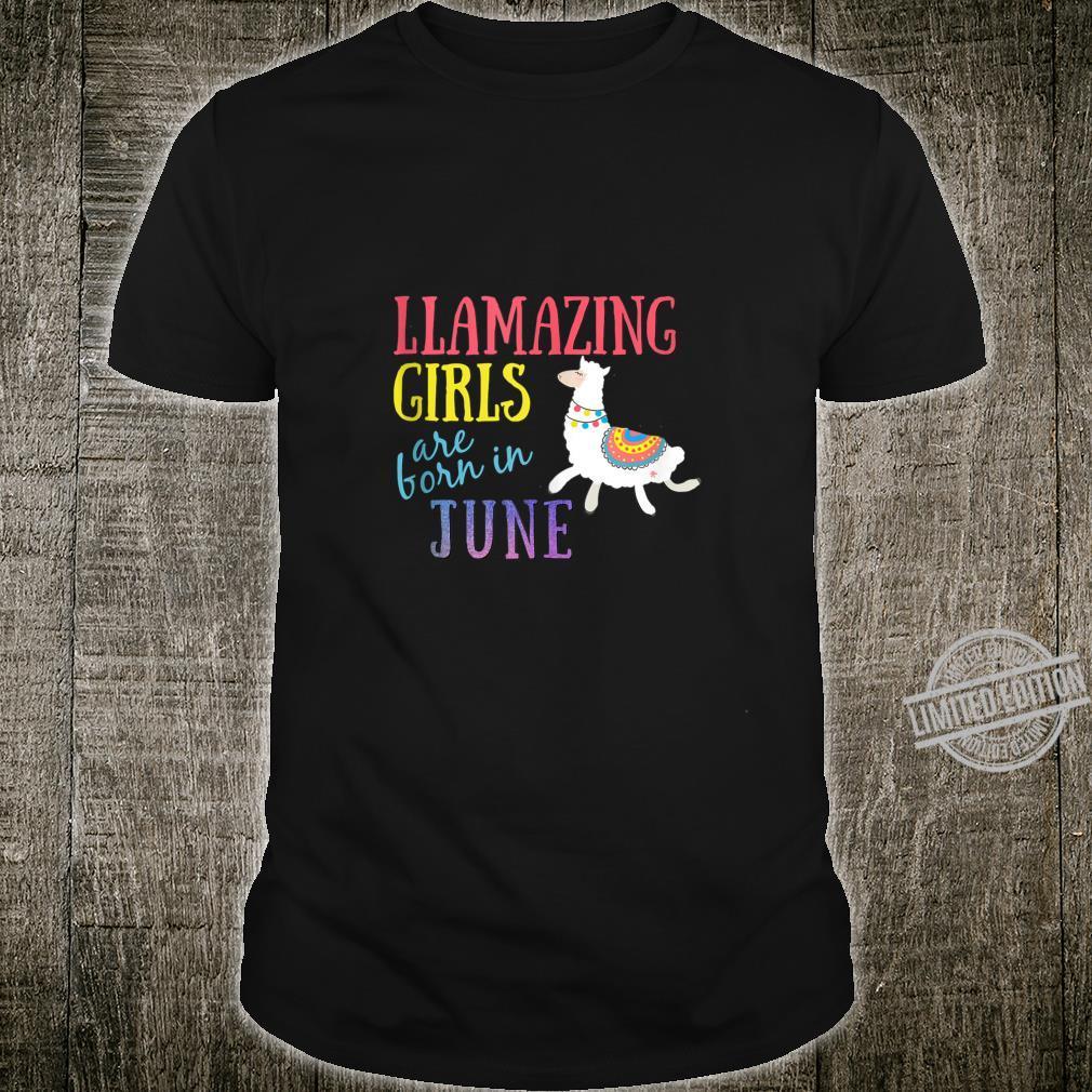 Llamazing Girls Are Born In June Cute Llama Shirt