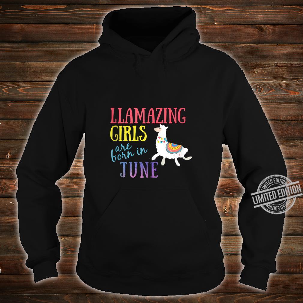 Llamazing Girls Are Born In June Cute Llama Shirt hoodie