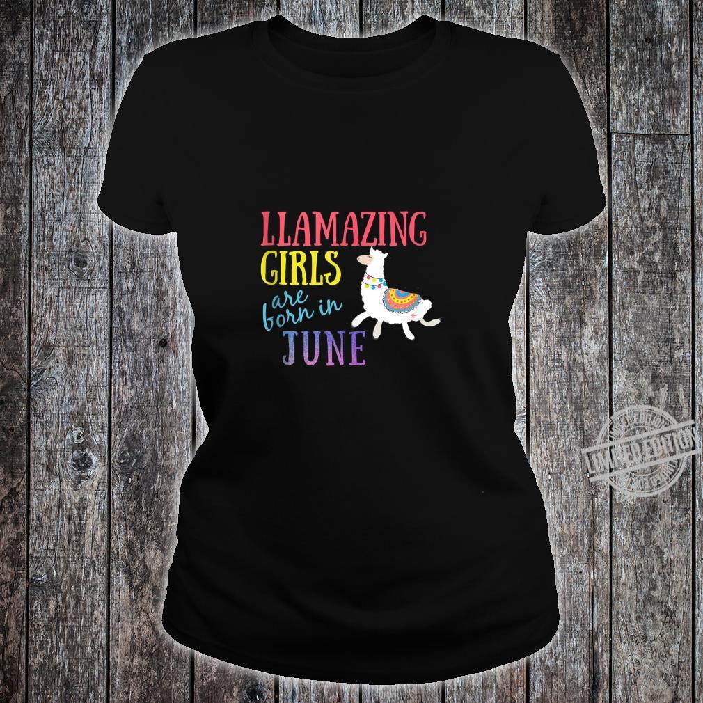 Llamazing Girls Are Born In June Cute Llama Shirt ladies tee