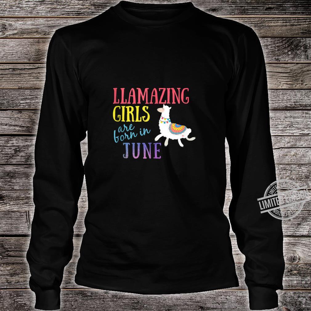 Llamazing Girls Are Born In June Cute Llama Shirt long sleeved