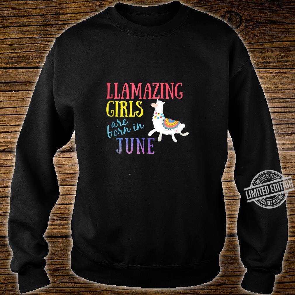 Llamazing Girls Are Born In June Cute Llama Shirt sweater