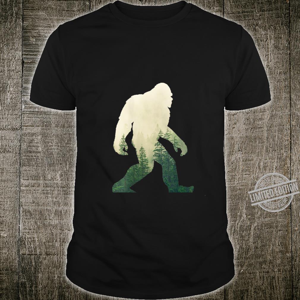 Womens Bigfoot Figure Sasquatch Yeti Nature Double Exposure Shirt