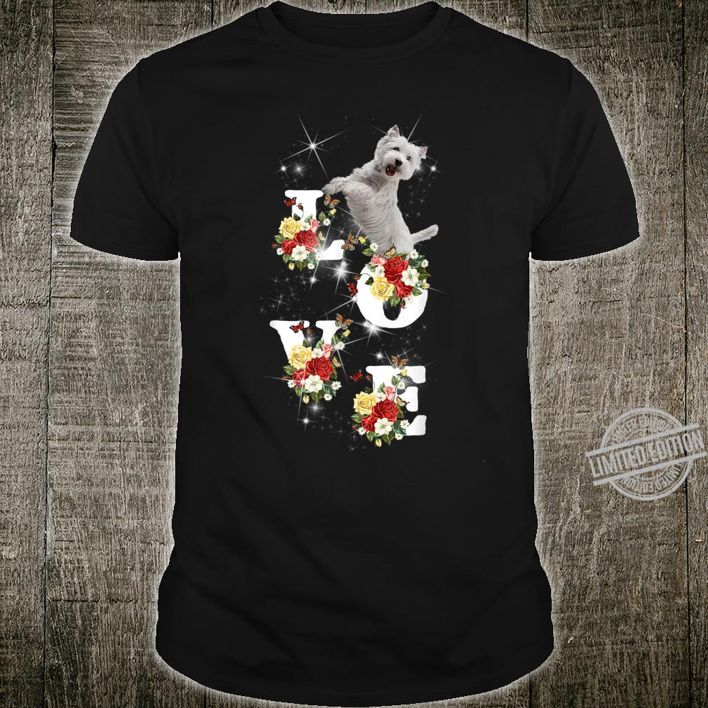 Womens Cute Love Westie Dog with Flower Shirt